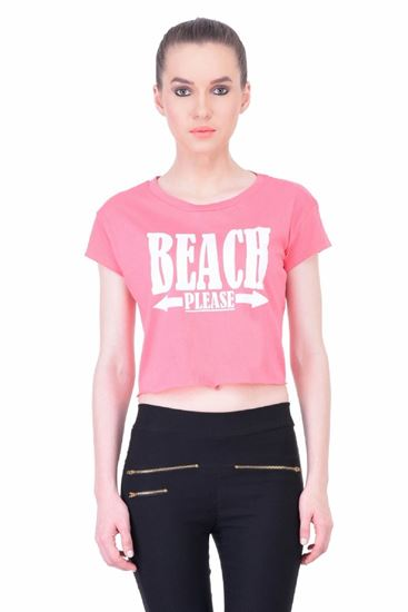 Picture of The Dry State Women's Half Sleeves Cotton Crop Top(CT05160005-$P_Pink)