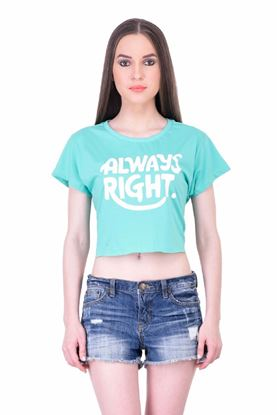 Picture of The Dry State Women's Half Sleeves Cotton Crop Top(CT05160007-$P_Green)