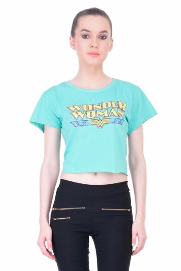 Picture of The Dry State Women's Half Sleeves Cotton Crop Top(CT05160010-$P_Green)