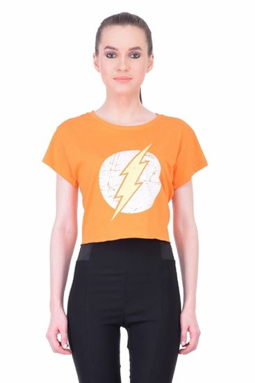 Picture of The Dry State Women's Half Sleeves Cotton Crop Top(CT05160012-$P_Orange)