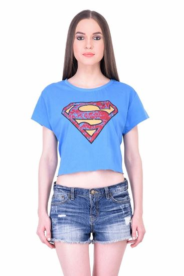 Picture of The Dry State Women's Half Sleeves Cotton Crop Top(CT05160015-$P_Blue)