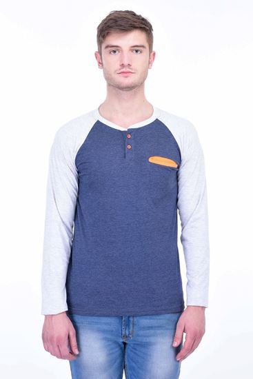 Picture of The Dry State Men's Cotton Full Sleeve Henley T-Shirt(FS05161008-$P_Blue With Orange Pocket)