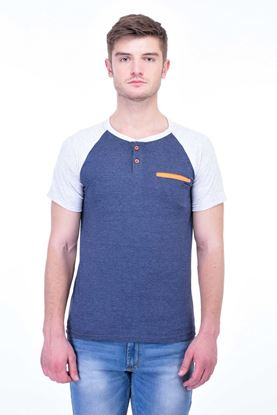 Picture of The Dry State Men's Cotton Half Sleeve T-Shirt(HS05161007-$P_Blue With Orange Pocket)