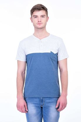 Picture of The Dry State Men's Cotton Half Sleeve T-Shirt(HS05161009-$P_Blue with Gray Milange)