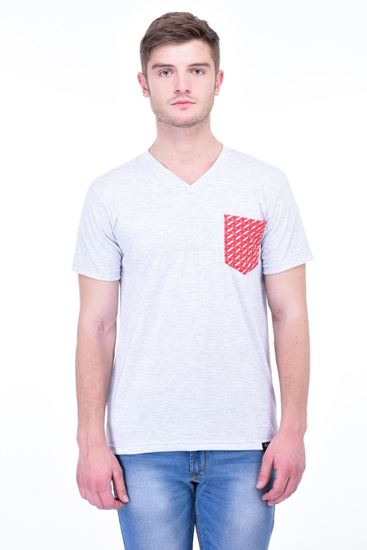 Picture of The Dry State Men's Cotton Half Sleeve T-Shirt(HS05161003-$P_White with Red Pocket)