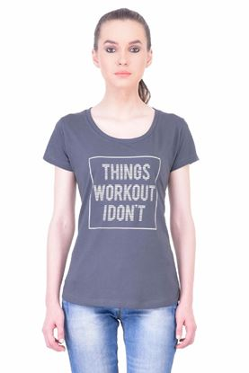 Picture of The Dry State Women's Half Sleeve Cotton T-Shirt(HS05160020-$P_Dark Gray)