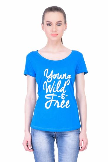 Picture of The Dry State Women's Half Sleeve Cotton T-Shirt(HS05160052-$P_Blue)