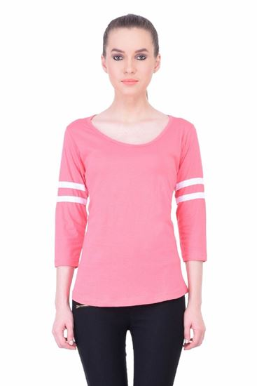 Picture of The Dry State Women's 3/4 Sleeve Cotton T-Shirt(PT05160029-$P_Pink)