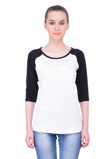 Picture of The Dry State Women's 3/4 Sleeve Cotton T-Shirt(PT05160032-$P_White Mixed)