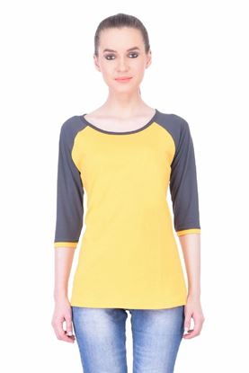 Picture of The Dry State Women's 3/4 Sleeve Cotton T-Shirt(PT05160038-$P-Yellow)