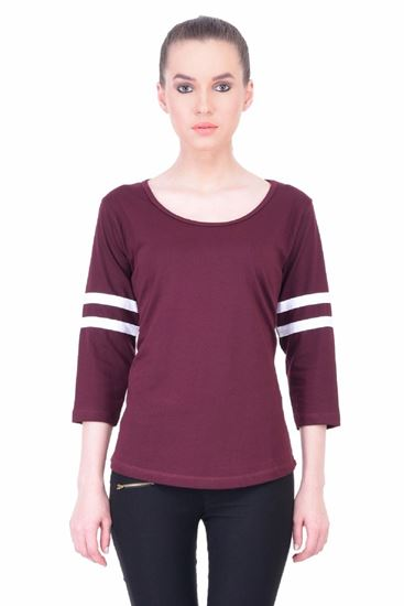 Picture of The Dry State Women's 3/4 Sleeve Cotton T-Shirt(PT05160044-$P-Marron)