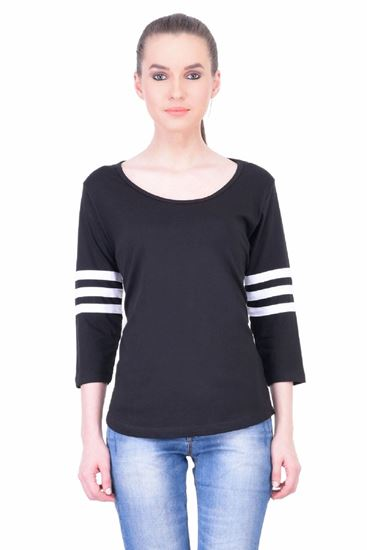 Picture of The Dry State Women's 3/4 Sleeve Cotton T-Shirt(PT05160046-$P-Black)