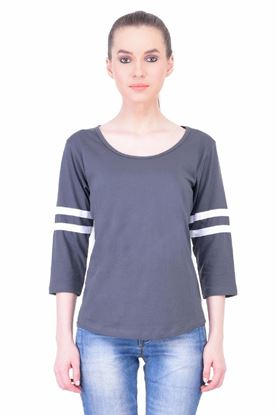 Picture of The Dry State Women's 3/4 Sleeve Cotton T-Shirt(PT05160048-$P-Gray)