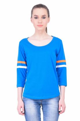 Picture of The Dry State Women's 3/4 Sleeve Cotton T-Shirt(PT05160053-$P-Blue)