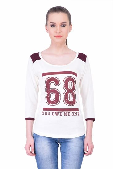 Picture of The Dry State Women's 3/4 Sleeve Cotton T-Shirt(TF05160033-$P-White)