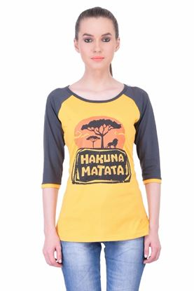 Picture of The Dry State Women's 3/4 Sleeve Cotton T-Shirt(TF05160036-$P-Yellow)